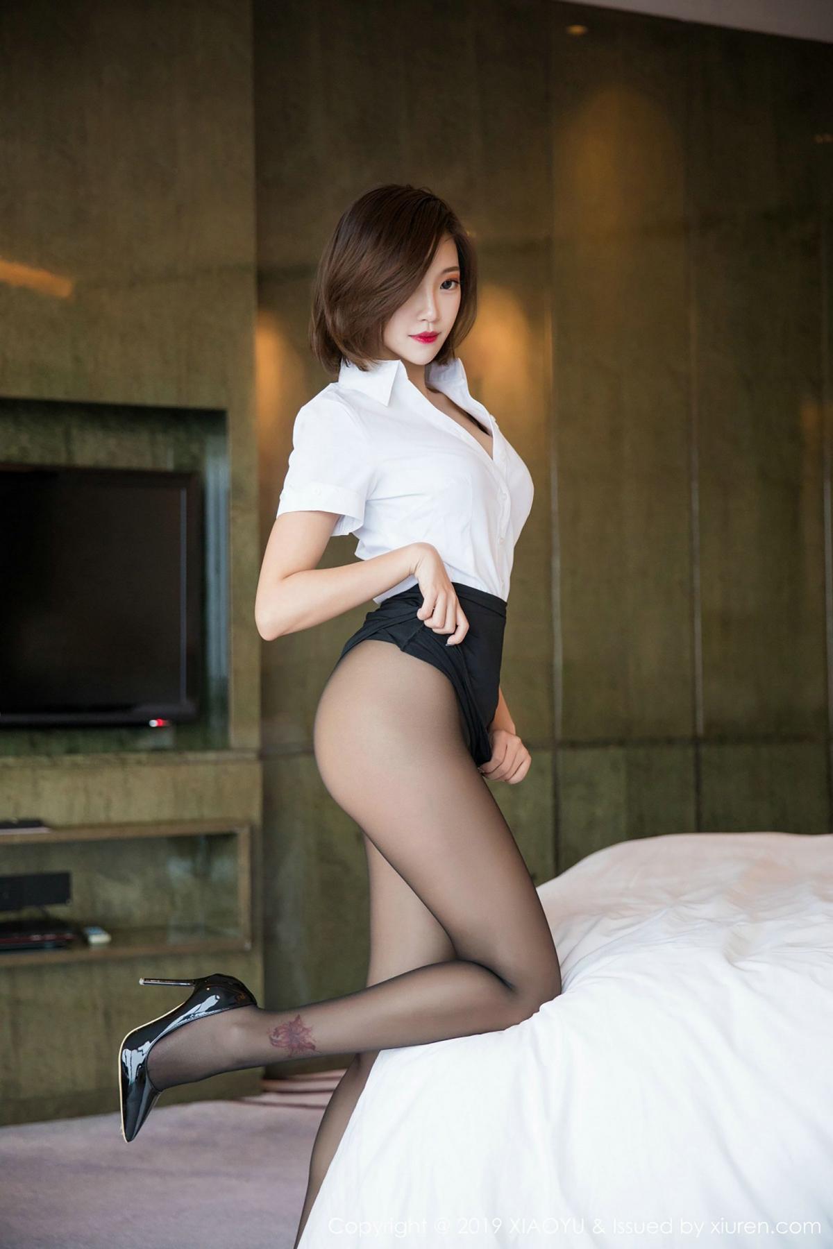 [XiaoYu] Vol.009 Feng Mu Mu 32P, Black Silk, Feng Mu Mu, Tall, Uniform, XiaoYu