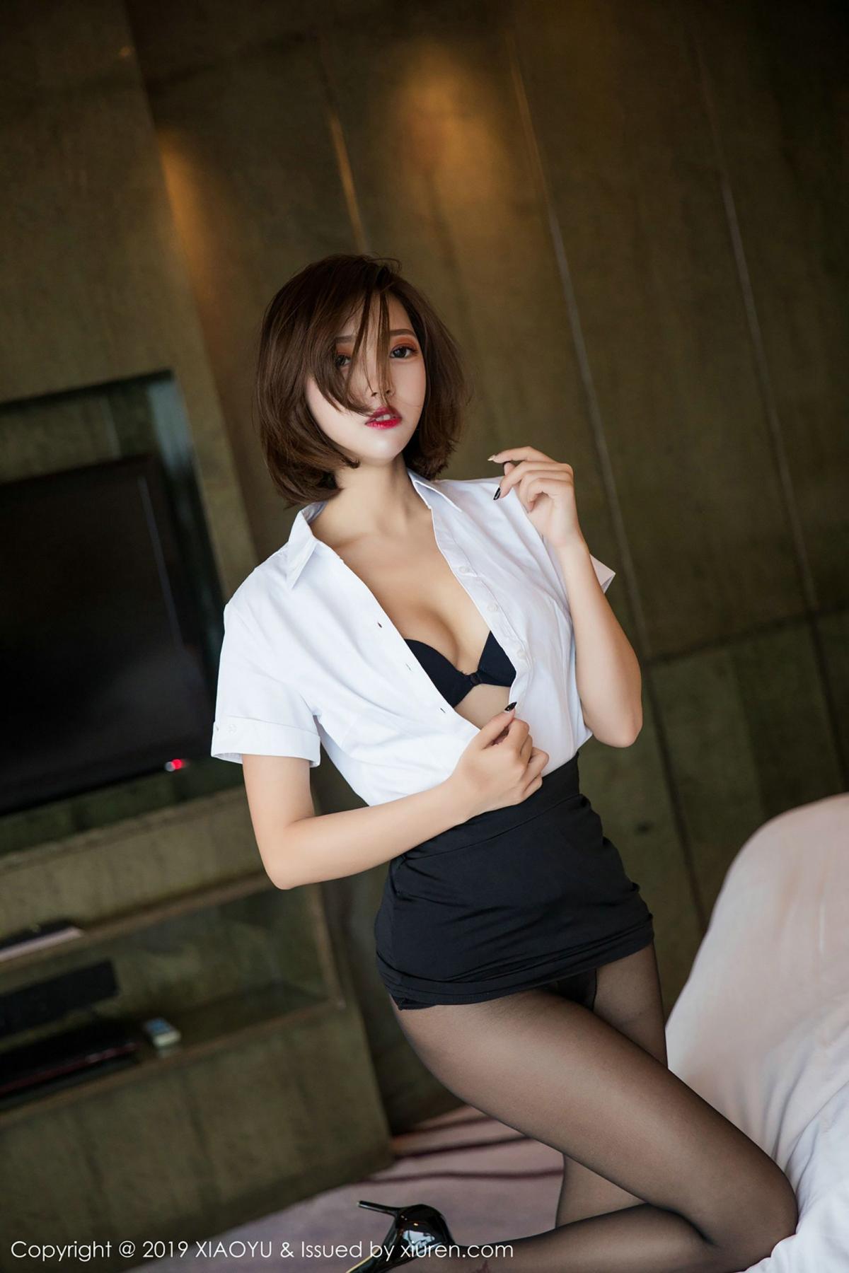 [XiaoYu] Vol.009 Feng Mu Mu 43P, Black Silk, Feng Mu Mu, Tall, Uniform, XiaoYu
