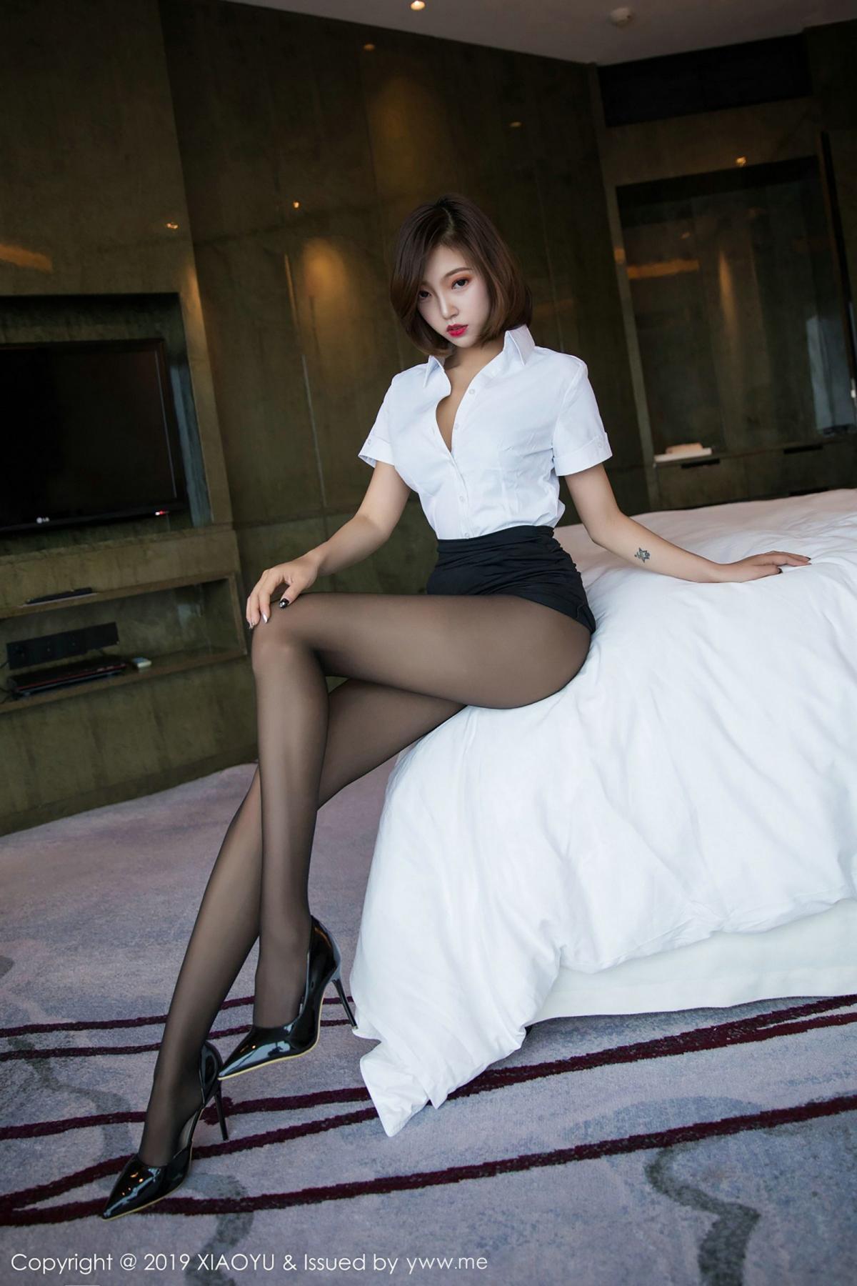 [XiaoYu] Vol.009 Feng Mu Mu 44P, Black Silk, Feng Mu Mu, Tall, Uniform, XiaoYu