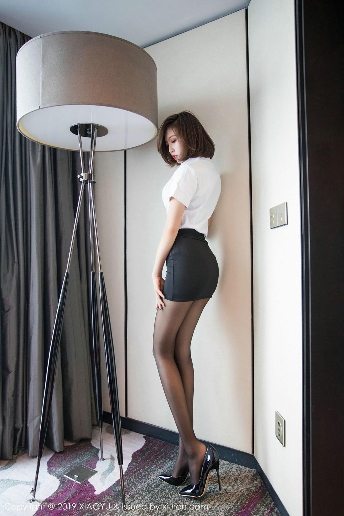 [XiaoYu] Vol.009 Feng Mu Mu 45P, Black Silk, Feng Mu Mu, Tall, Uniform, XiaoYu