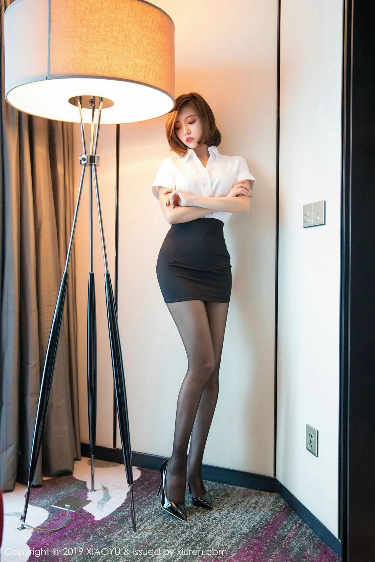 [XiaoYu] Vol.009 Feng Mu Mu 4P, Black Silk, Feng Mu Mu, Tall, Uniform, XiaoYu