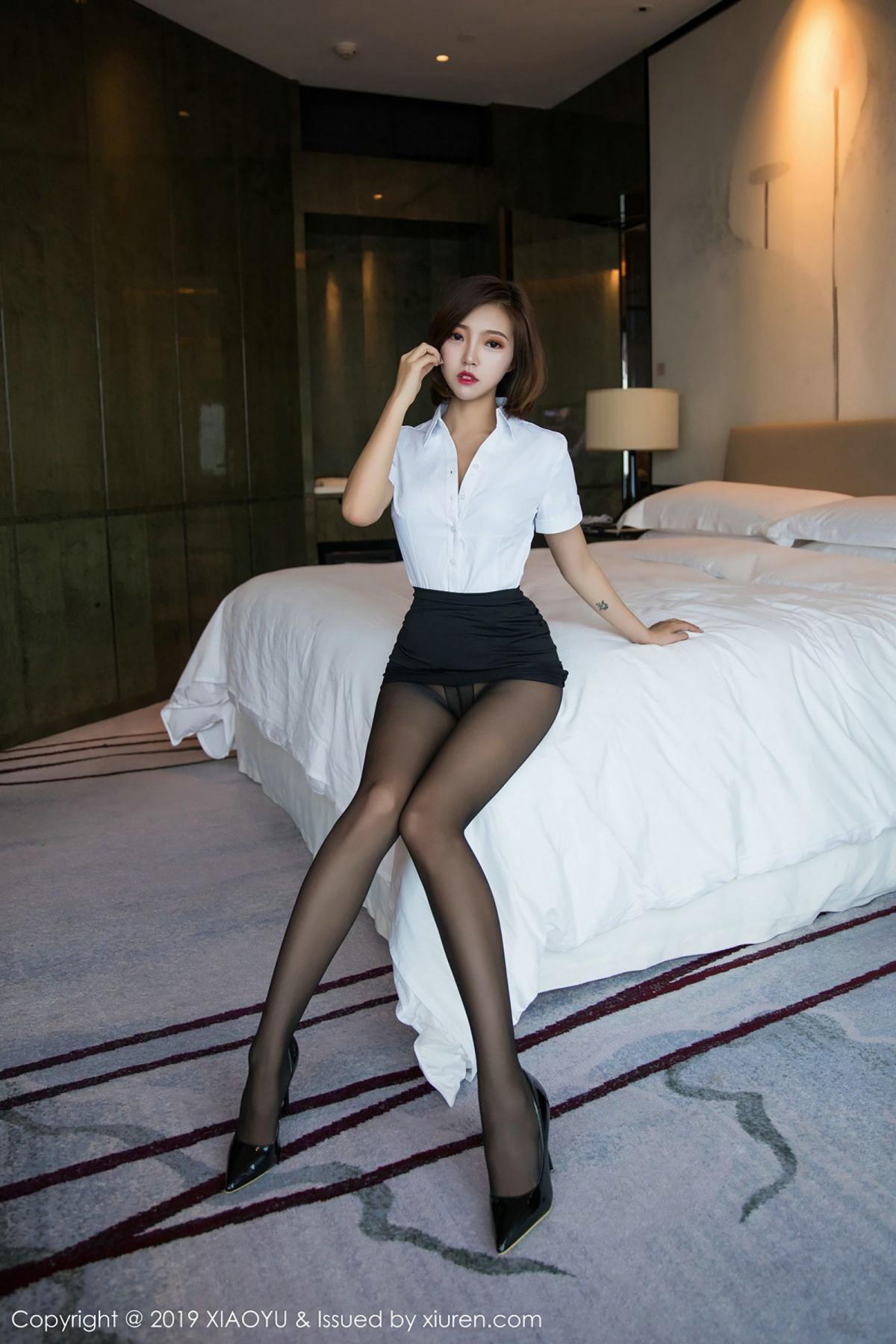 [XiaoYu] Vol.009 Feng Mu Mu 50P, Black Silk, Feng Mu Mu, Tall, Uniform, XiaoYu