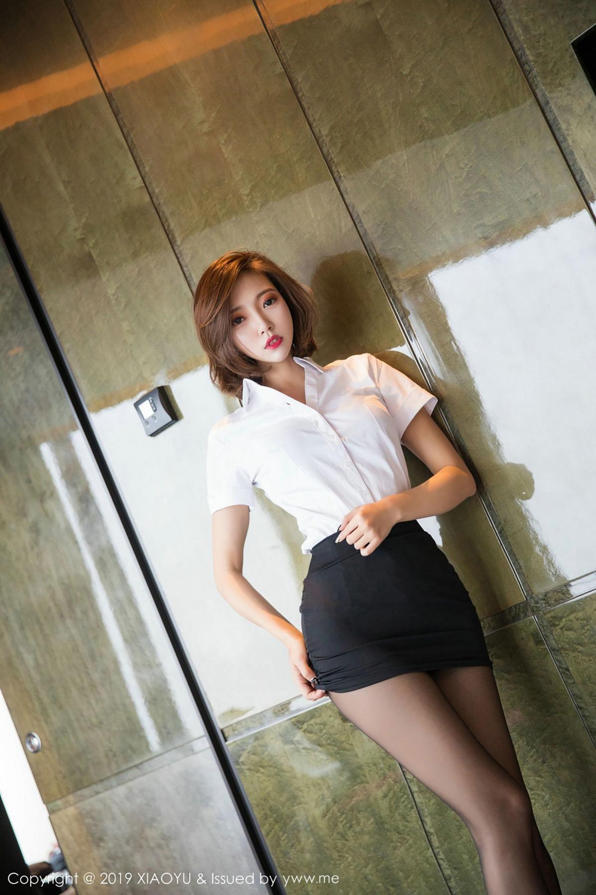 [XiaoYu] Vol.009 Feng Mu Mu 55P, Black Silk, Feng Mu Mu, Tall, Uniform, XiaoYu