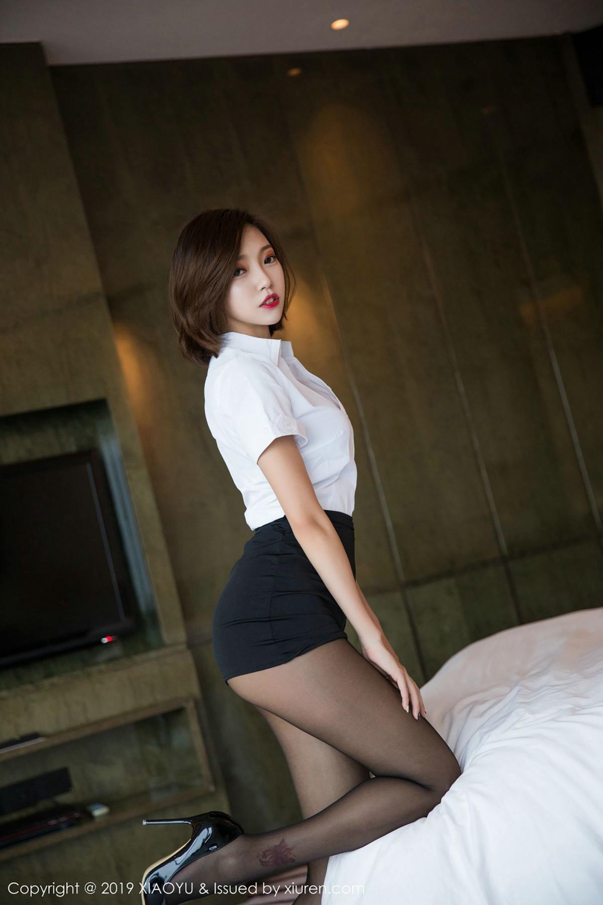 [XiaoYu] Vol.009 Feng Mu Mu 9P, Black Silk, Feng Mu Mu, Tall, Uniform, XiaoYu