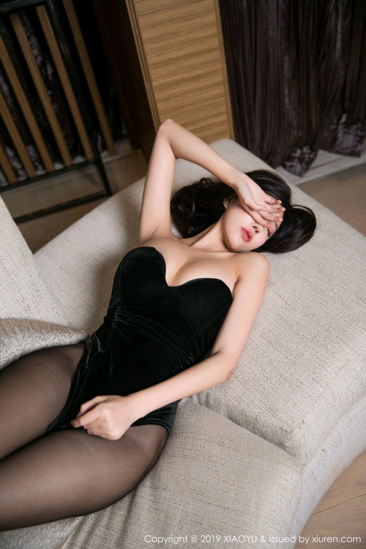 [XiaoYu] Vol.012 Yang Chen Chen 19P, Black Silk, Tall, XiaoYu, Yang Chen Chen