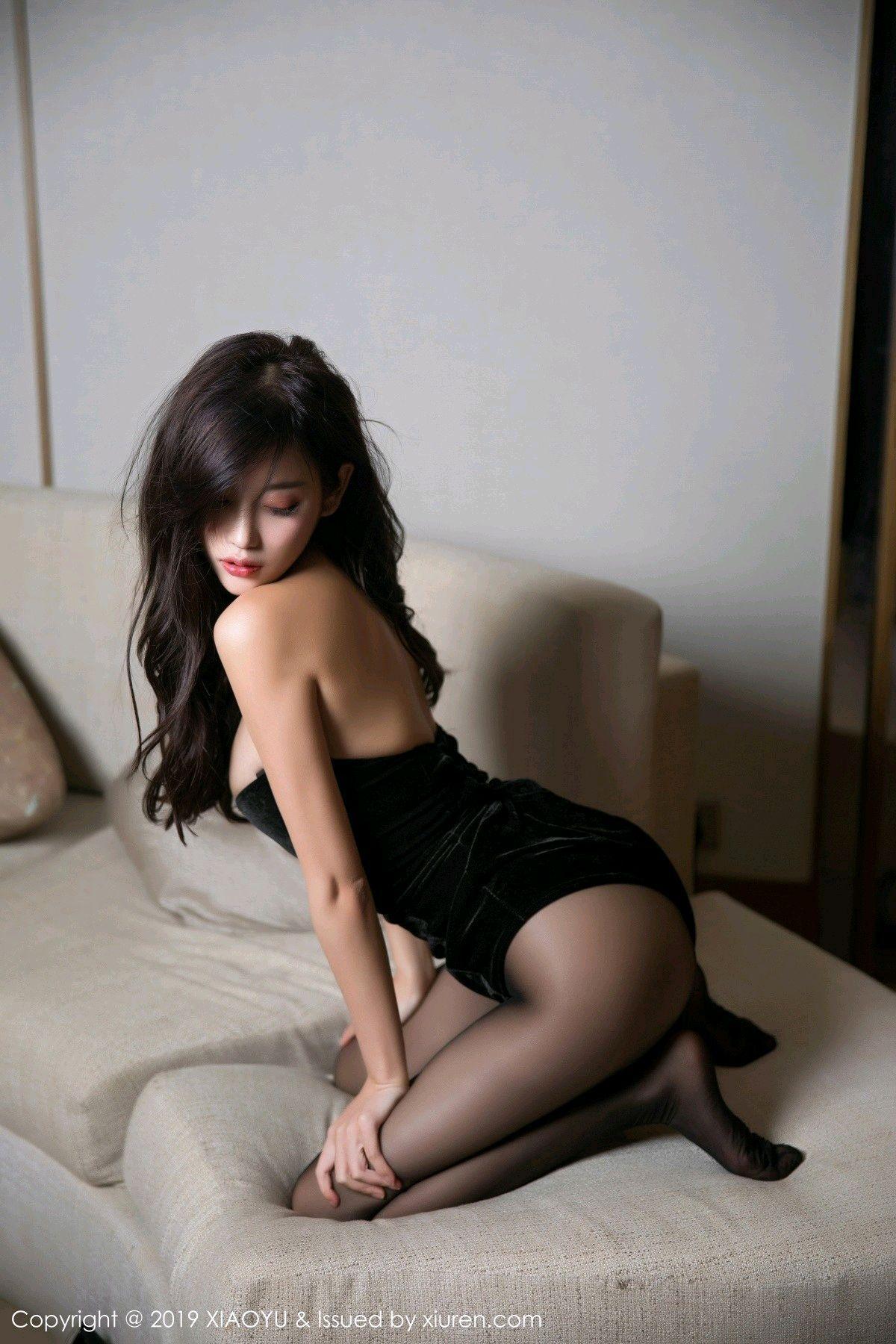 [XiaoYu] Vol.012 Yang Chen Chen 44P, Black Silk, Tall, XiaoYu, Yang Chen Chen
