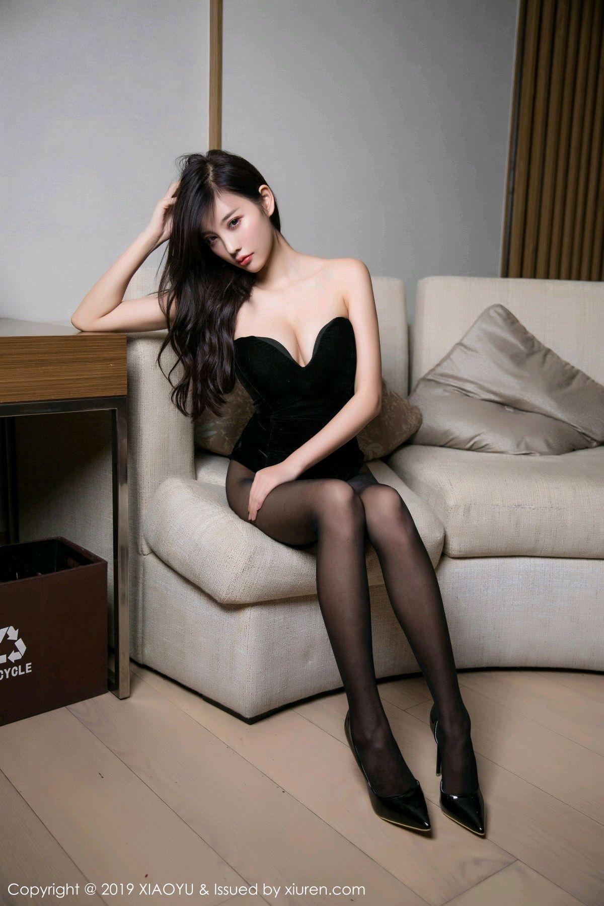 [XiaoYu] Vol.012 Yang Chen Chen 7P, Black Silk, Tall, XiaoYu, Yang Chen Chen