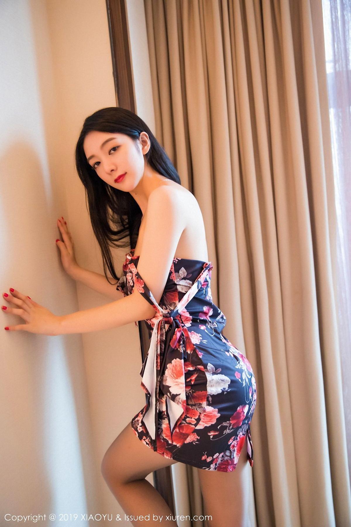 [XiaoYu] Vol.034 Di Yi 40P, Black Silk, Cheongsam, Di Yi, Tall, XiaoYu