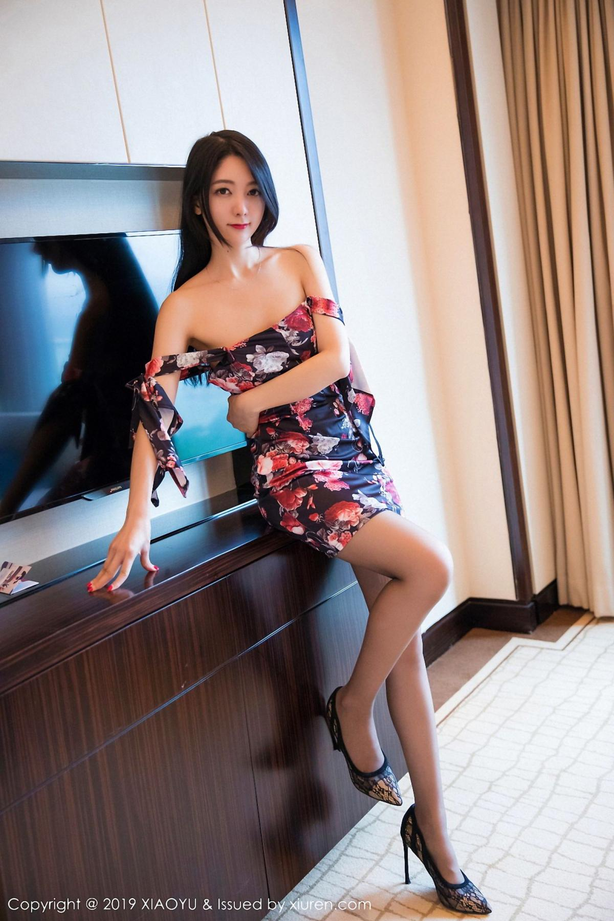 [XiaoYu] Vol.034 Di Yi 43P, Black Silk, Cheongsam, Di Yi, Tall, XiaoYu
