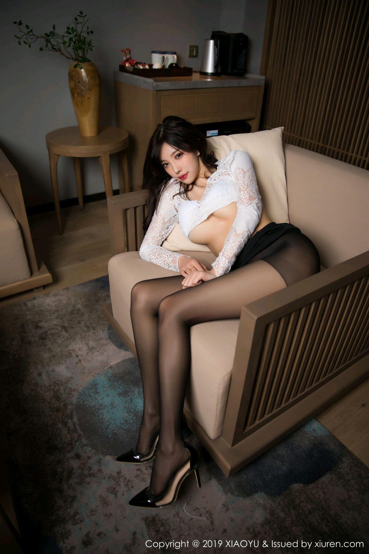 [XiaoYu] Vol.048 Yang Chen Chen 4P, Black Silk, Tall, XiaoYu, Yang Chen Chen