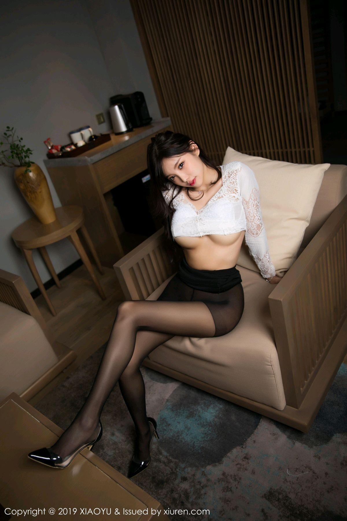 [XiaoYu] Vol.048 Yang Chen Chen 5P, Black Silk, Tall, XiaoYu, Yang Chen Chen