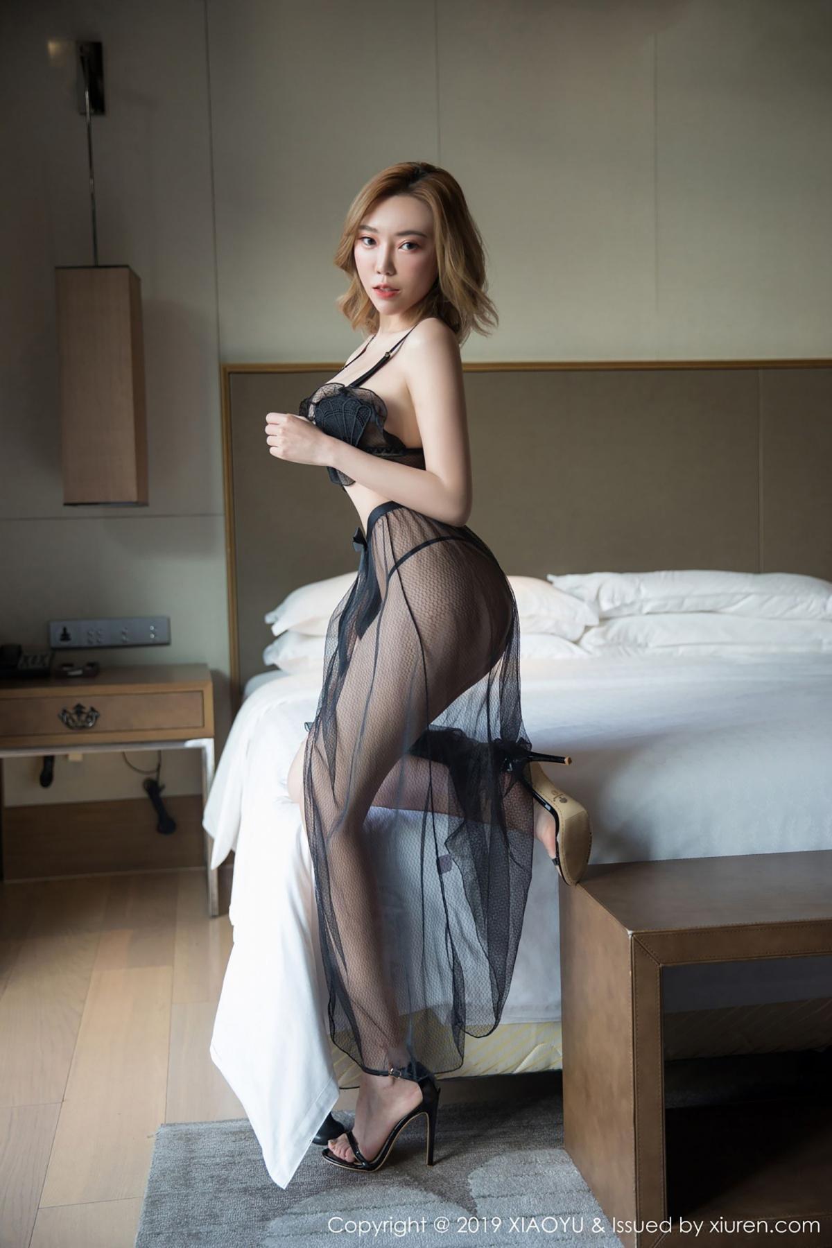 [XiaoYu] Vol.050 Hanyao Meng 10P, Black Silk, Meng Han Yao, Underwear, XiaoYu