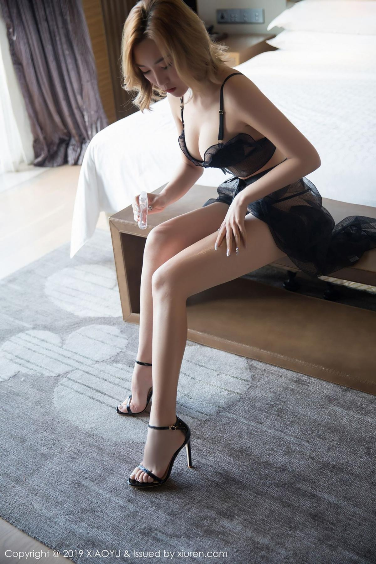 [XiaoYu] Vol.050 Hanyao Meng 11P, Black Silk, Meng Han Yao, Underwear, XiaoYu