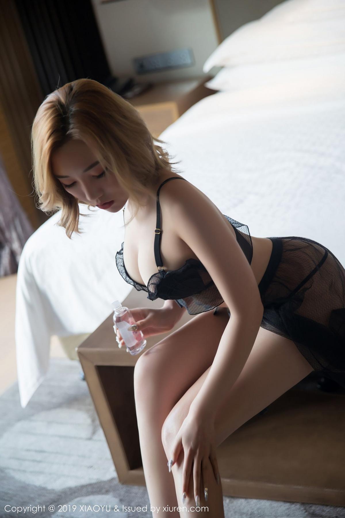 [XiaoYu] Vol.050 Hanyao Meng 12P, Black Silk, Meng Han Yao, Underwear, XiaoYu