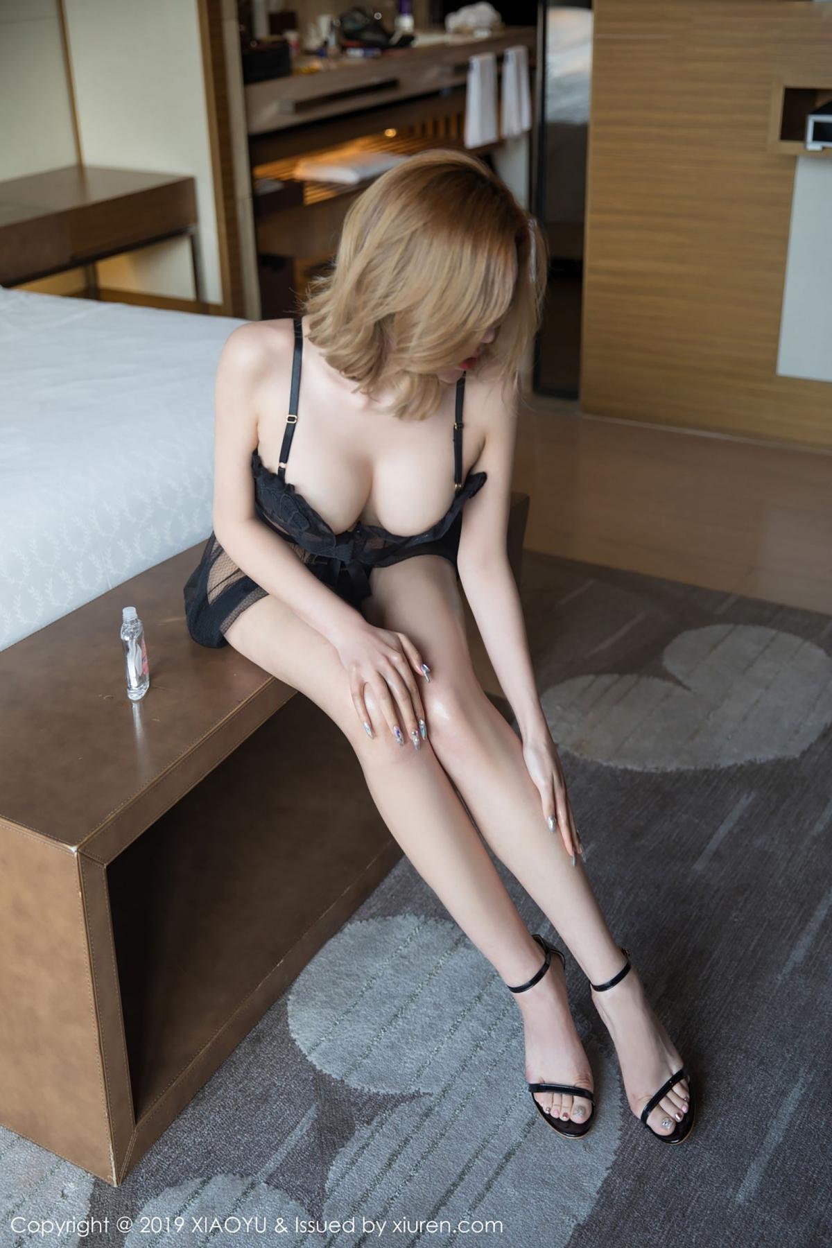 [XiaoYu] Vol.050 Hanyao Meng 14P, Black Silk, Meng Han Yao, Underwear, XiaoYu