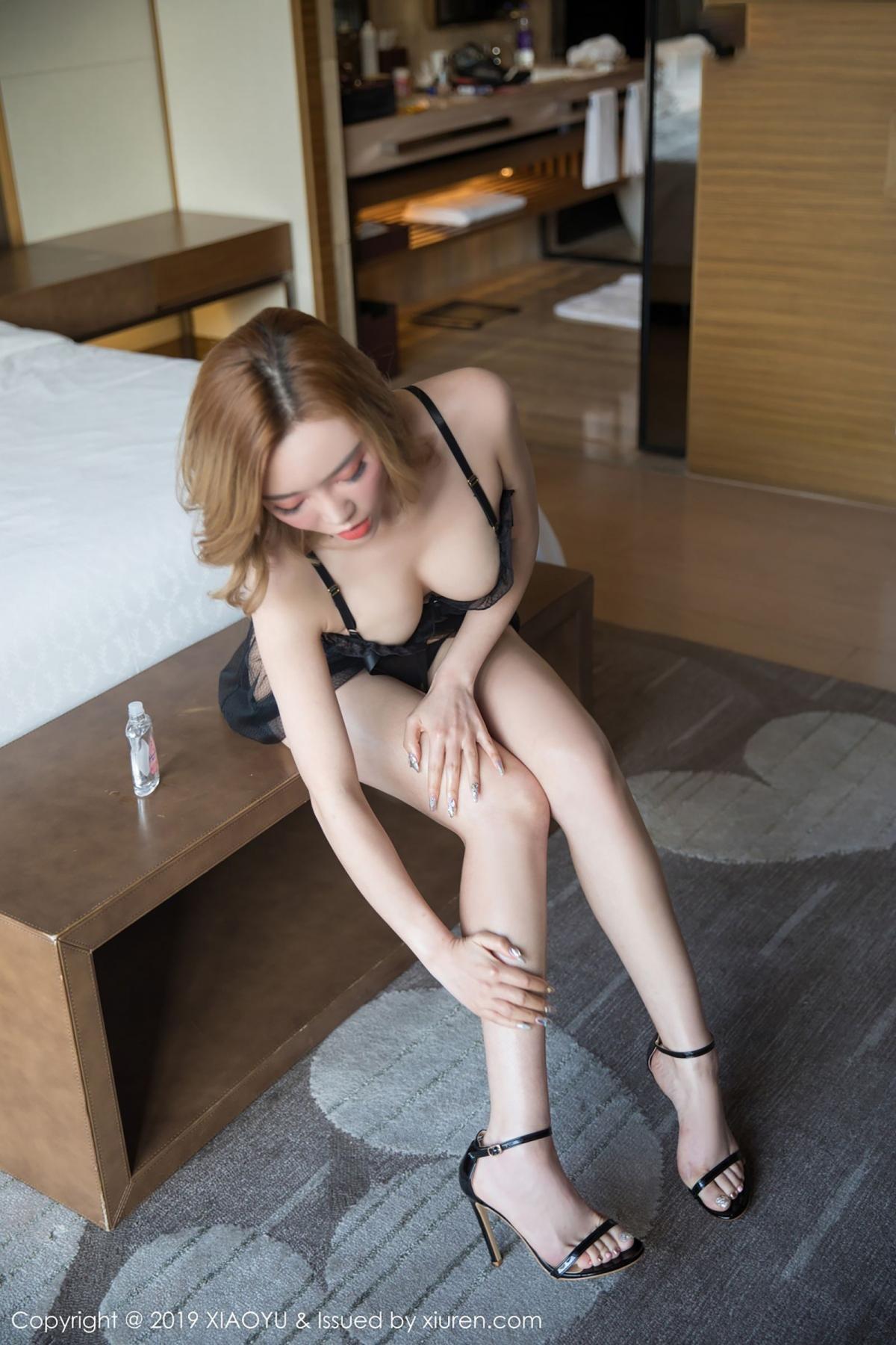 [XiaoYu] Vol.050 Hanyao Meng 15P, Black Silk, Meng Han Yao, Underwear, XiaoYu