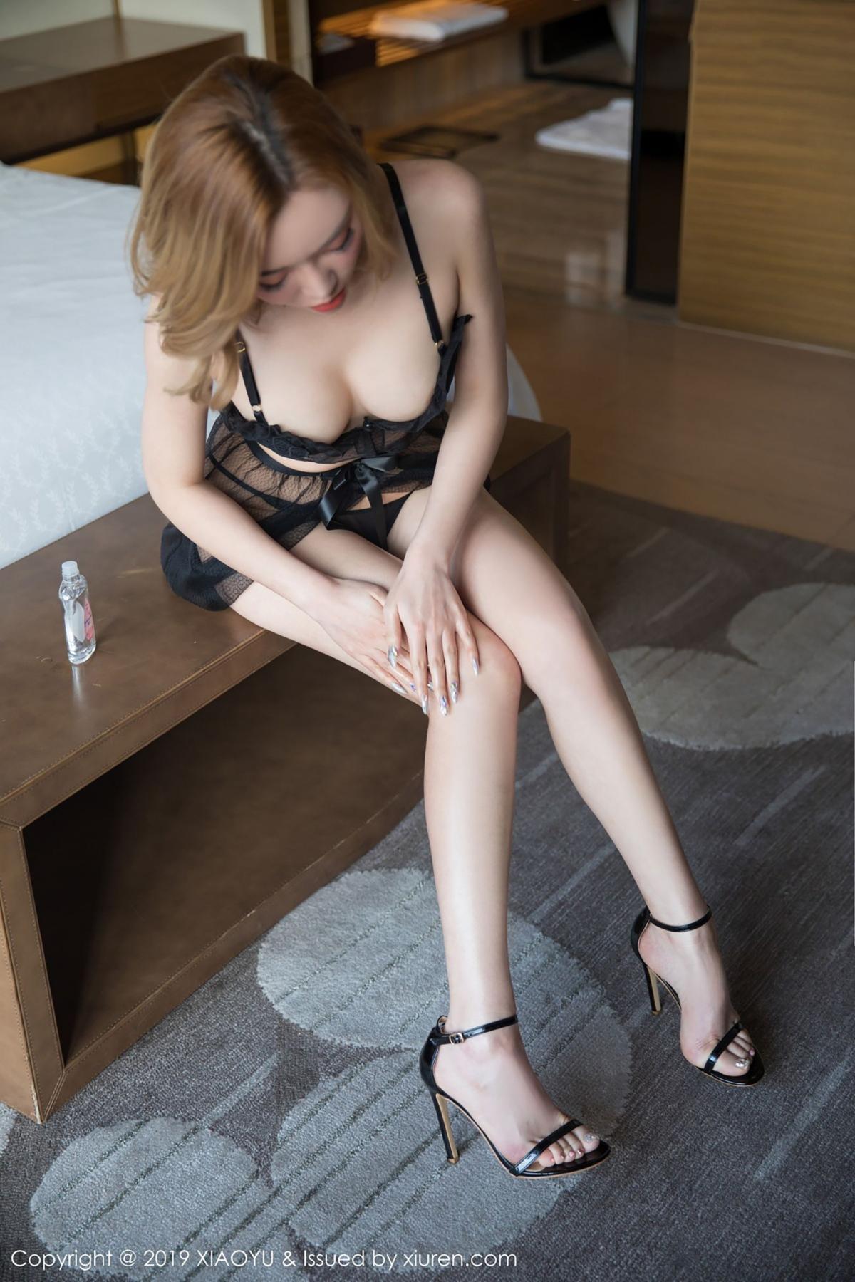 [XiaoYu] Vol.050 Hanyao Meng 16P, Black Silk, Meng Han Yao, Underwear, XiaoYu