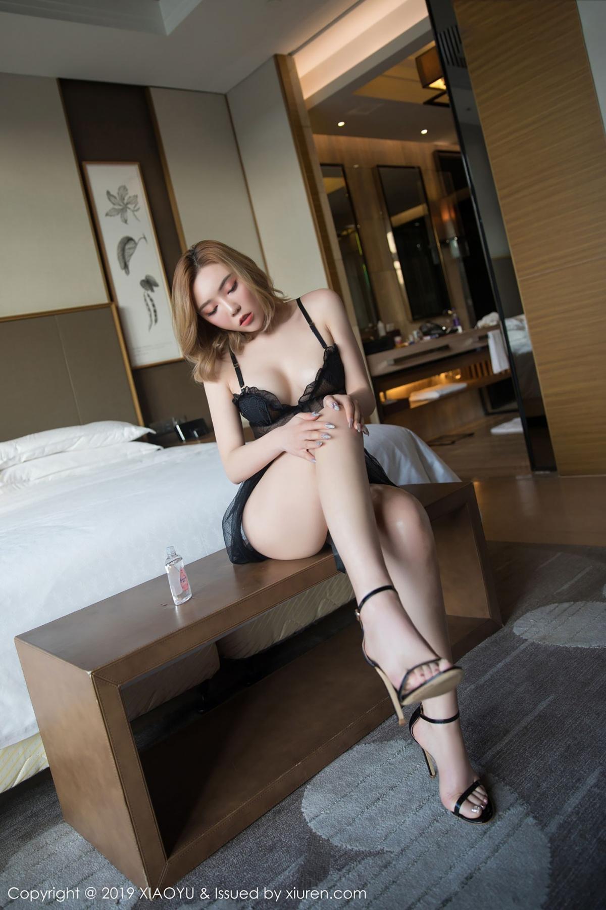 [XiaoYu] Vol.050 Hanyao Meng 17P, Black Silk, Meng Han Yao, Underwear, XiaoYu