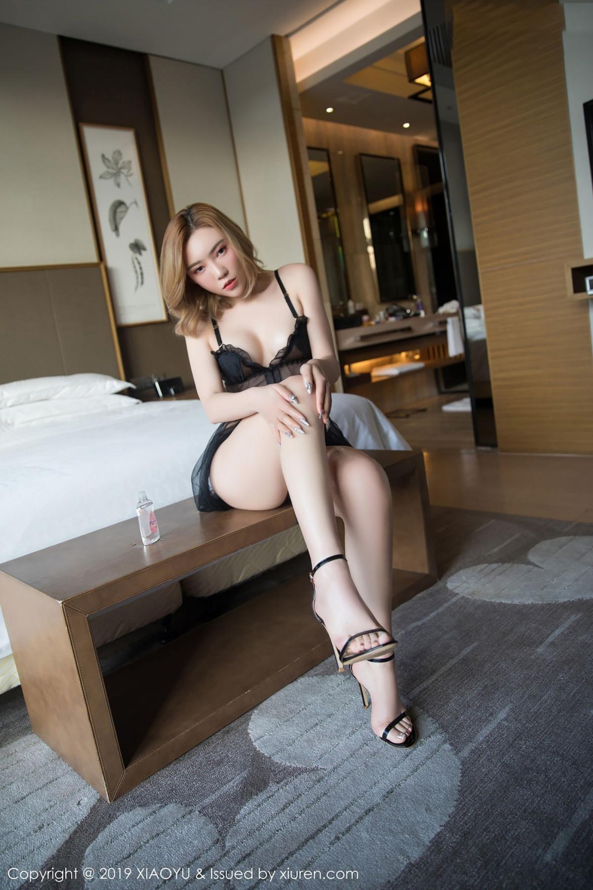 [XiaoYu] Vol.050 Hanyao Meng 18P, Black Silk, Meng Han Yao, Underwear, XiaoYu