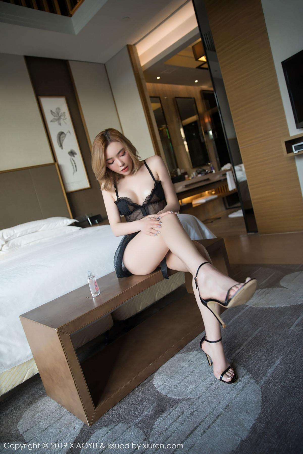 [XiaoYu] Vol.050 Hanyao Meng 19P, Black Silk, Meng Han Yao, Underwear, XiaoYu