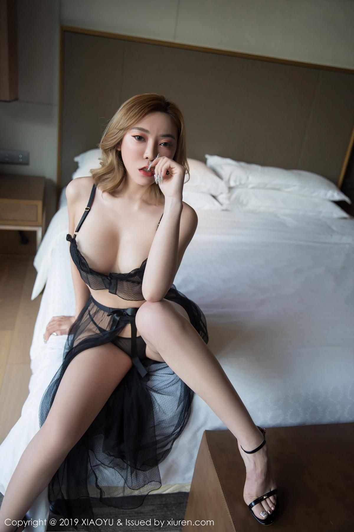 [XiaoYu] Vol.050 Hanyao Meng 2P, Black Silk, Meng Han Yao, Underwear, XiaoYu