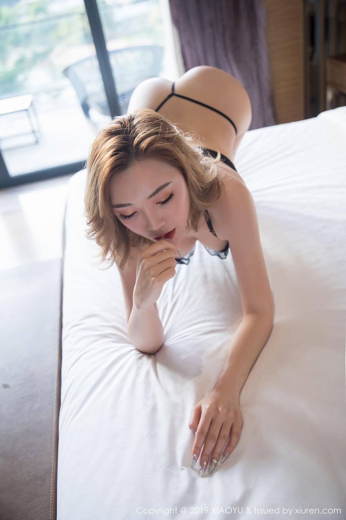 [XiaoYu] Vol.050 Hanyao Meng 42P, Black Silk, Meng Han Yao, Underwear, XiaoYu