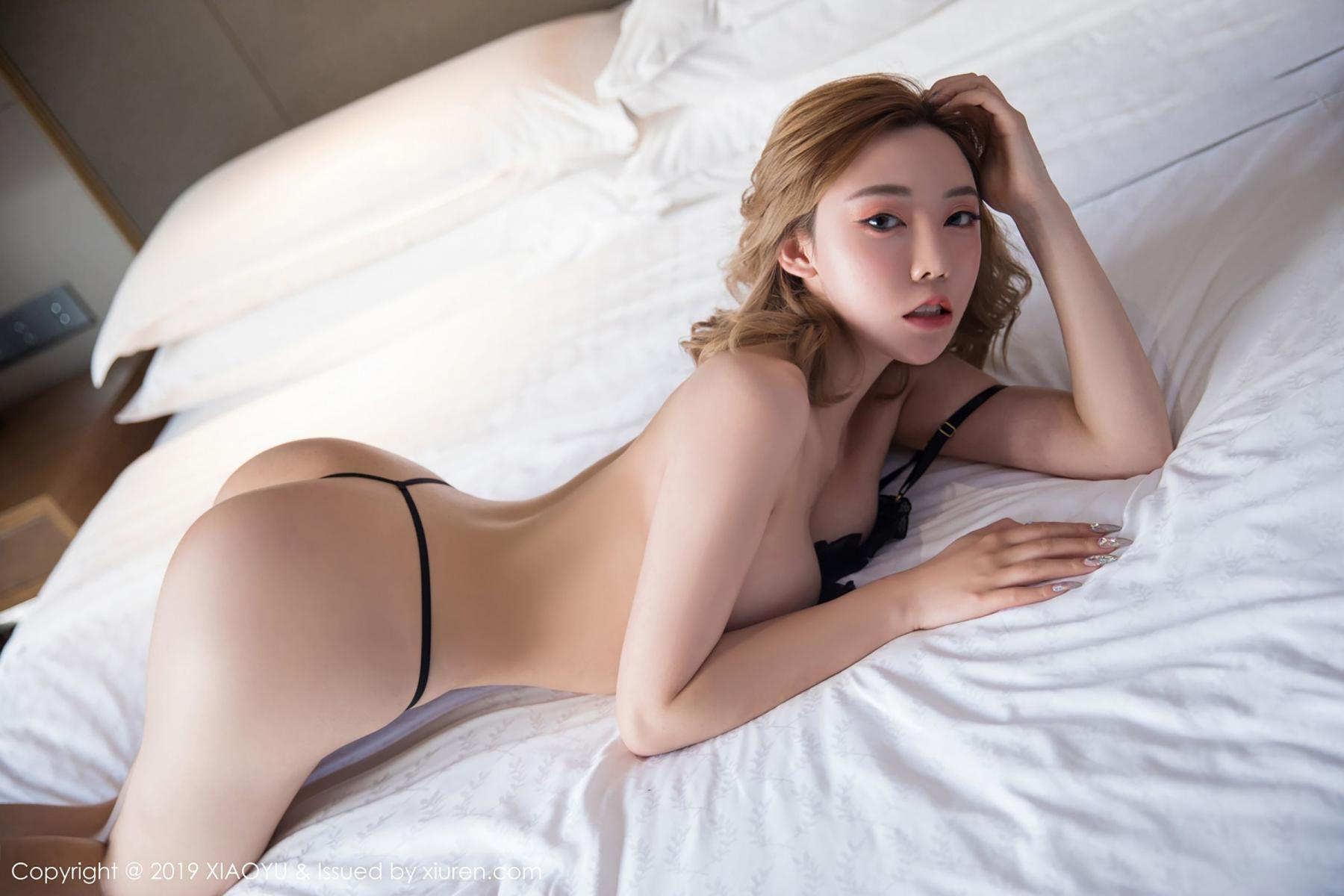 [XiaoYu] Vol.050 Hanyao Meng 55P, Black Silk, Meng Han Yao, Underwear, XiaoYu