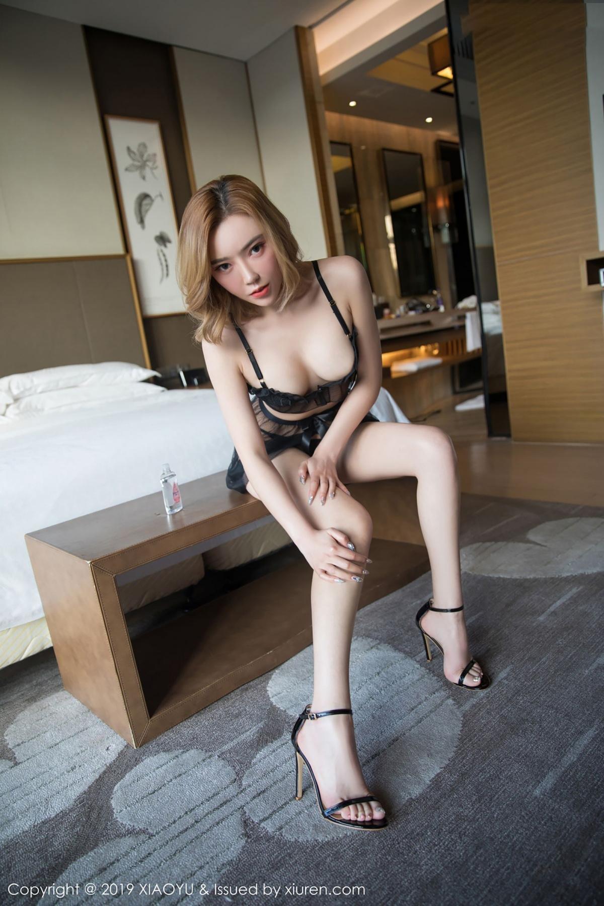 [XiaoYu] Vol.050 Hanyao Meng 57P, Black Silk, Meng Han Yao, Underwear, XiaoYu