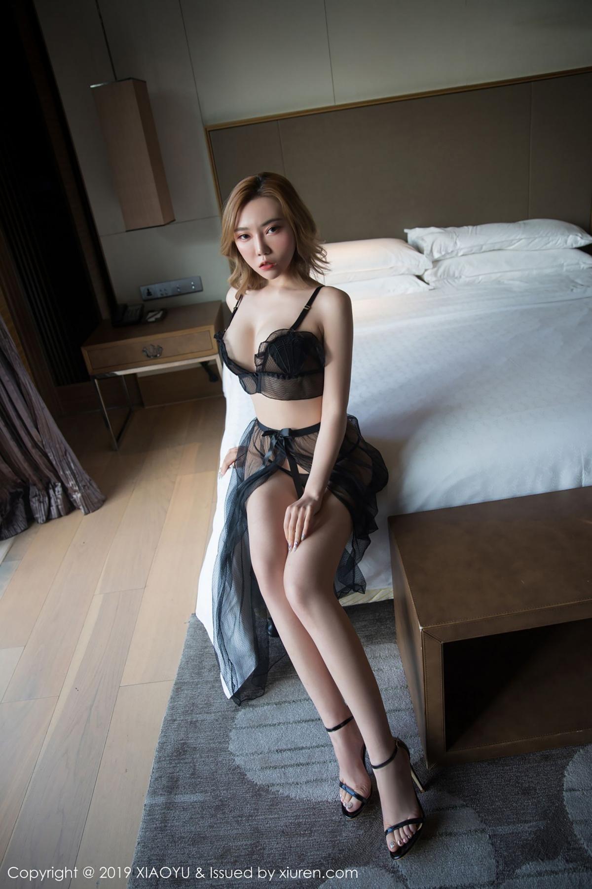 [XiaoYu] Vol.050 Hanyao Meng 6P, Black Silk, Meng Han Yao, Underwear, XiaoYu