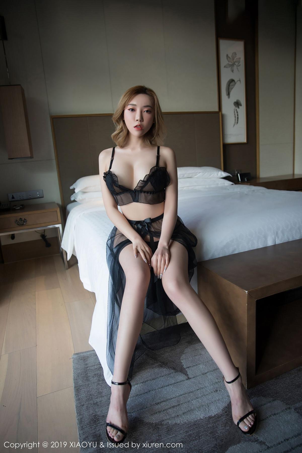 [XiaoYu] Vol.050 Hanyao Meng 7P, Black Silk, Meng Han Yao, Underwear, XiaoYu