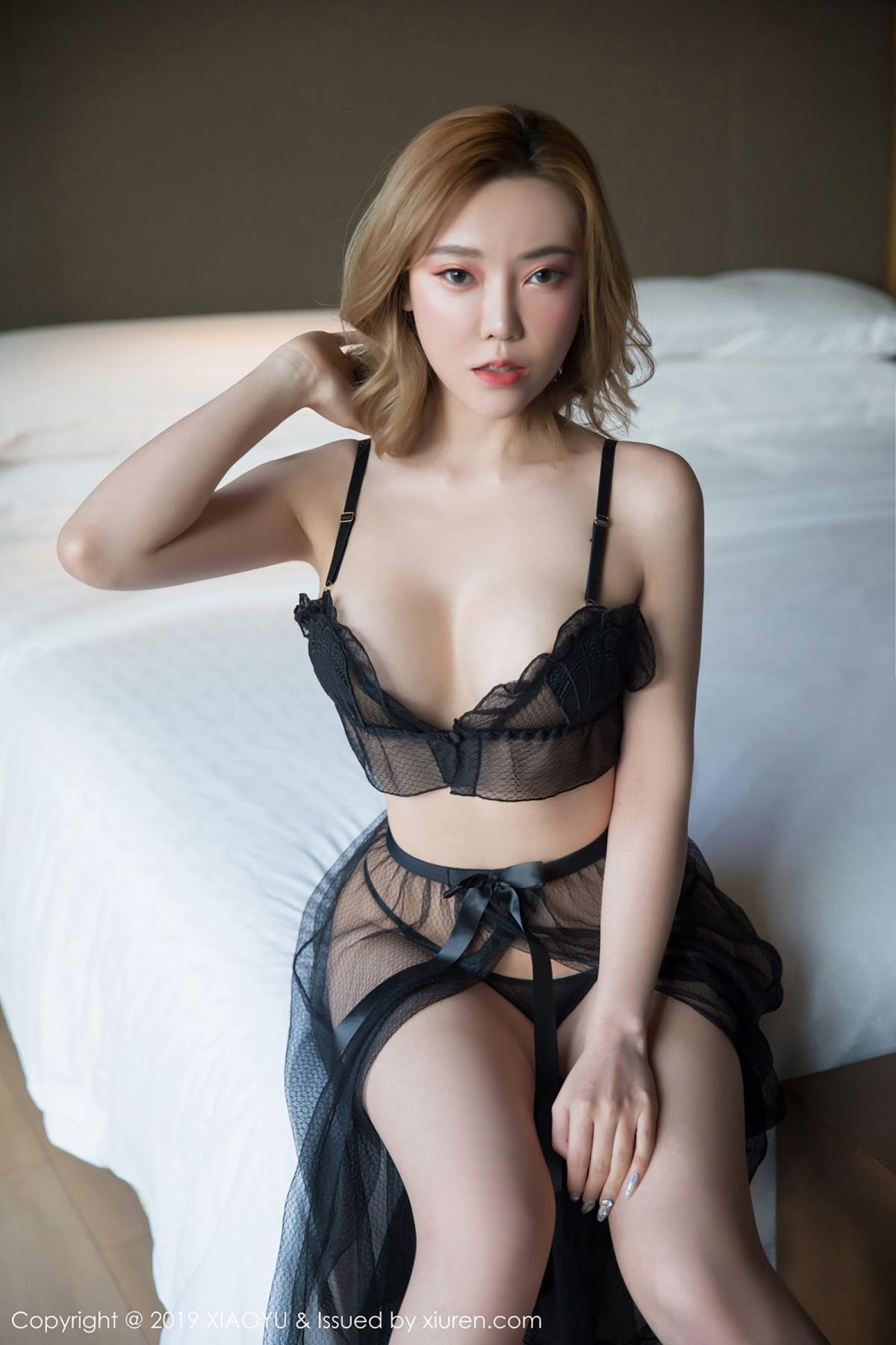 [XiaoYu] Vol.050 Hanyao Meng 8P, Black Silk, Meng Han Yao, Underwear, XiaoYu