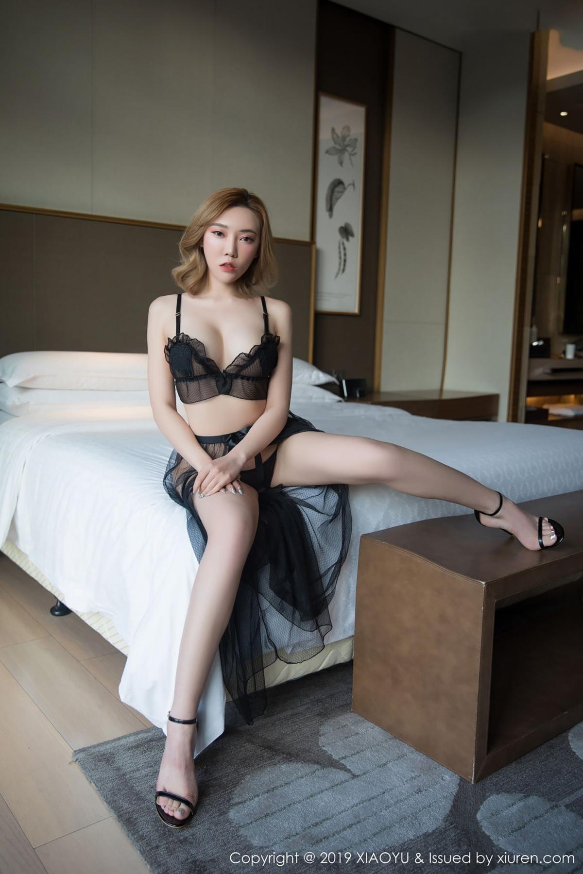[XiaoYu] Vol.050 Hanyao Meng 9P, Black Silk, Meng Han Yao, Underwear, XiaoYu