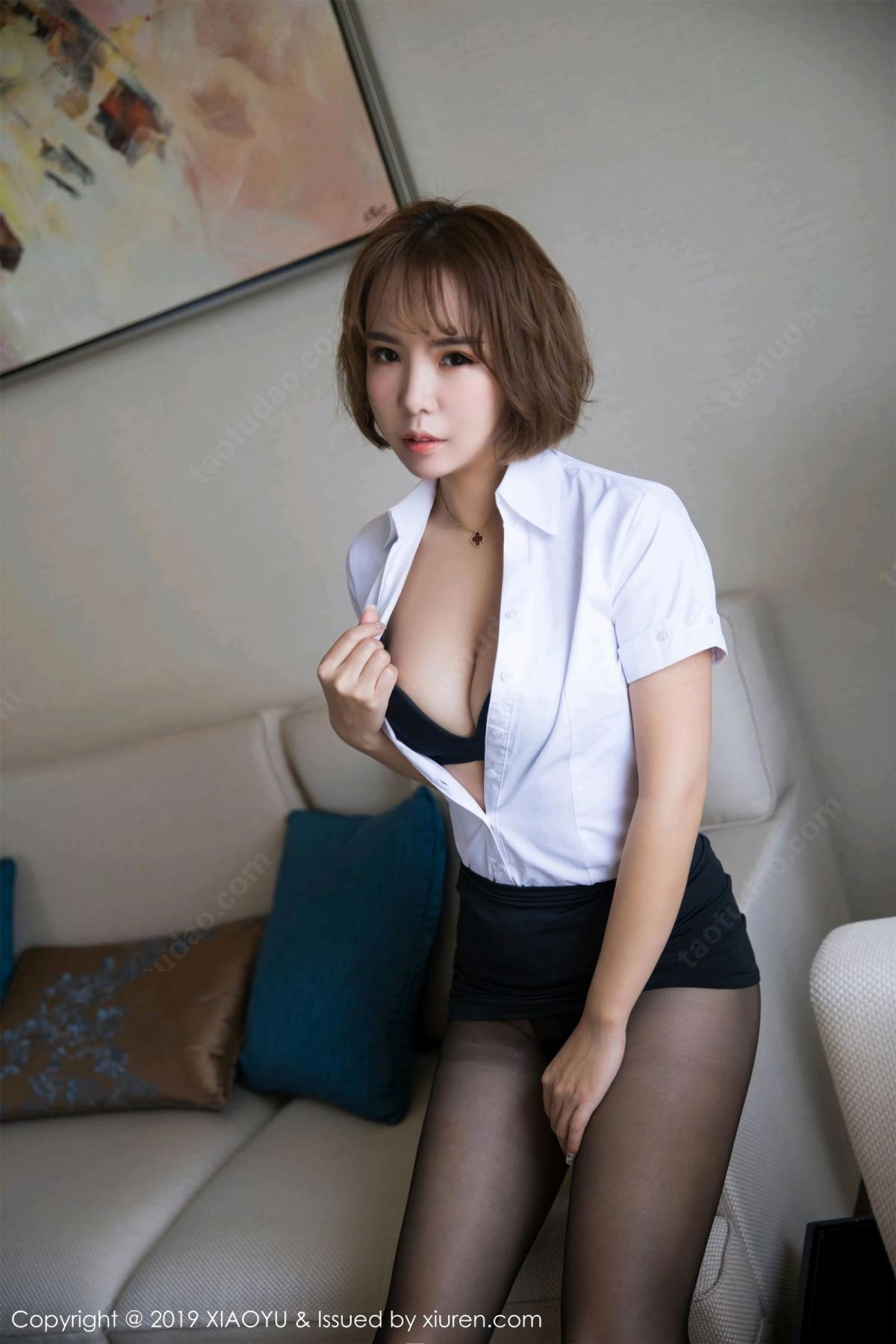 [XiaoYu] Vol.057 Ya Wen 16P, Black Silk, Chen Ya Wen, Uniform, XiaoYu