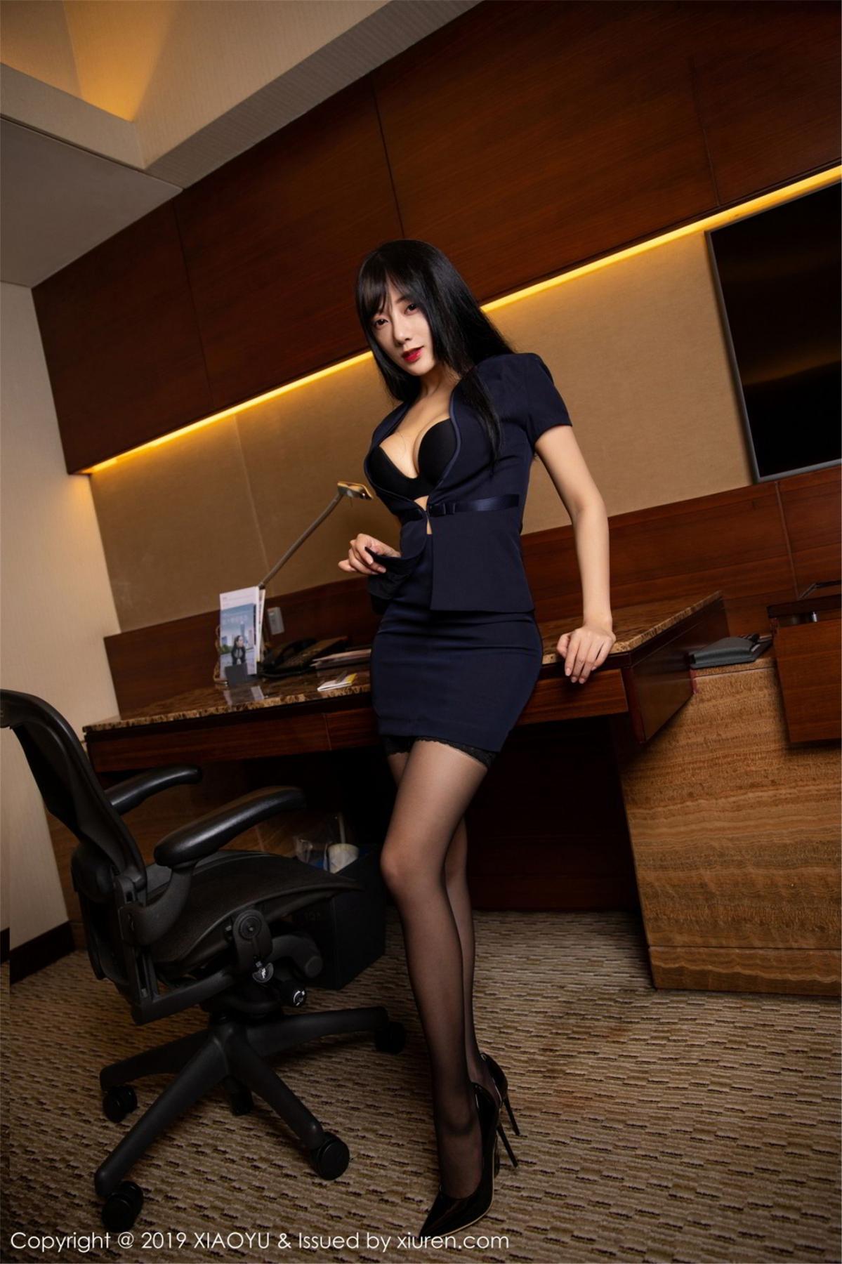 [XiaoYu] Vol.068 He Jia Ying 11P, Black Silk, He Jia Ying, Uniform, XiaoYu