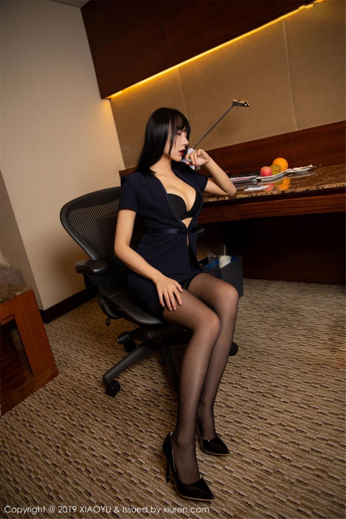 [XiaoYu] Vol.068 He Jia Ying 13P, Black Silk, He Jia Ying, Uniform, XiaoYu