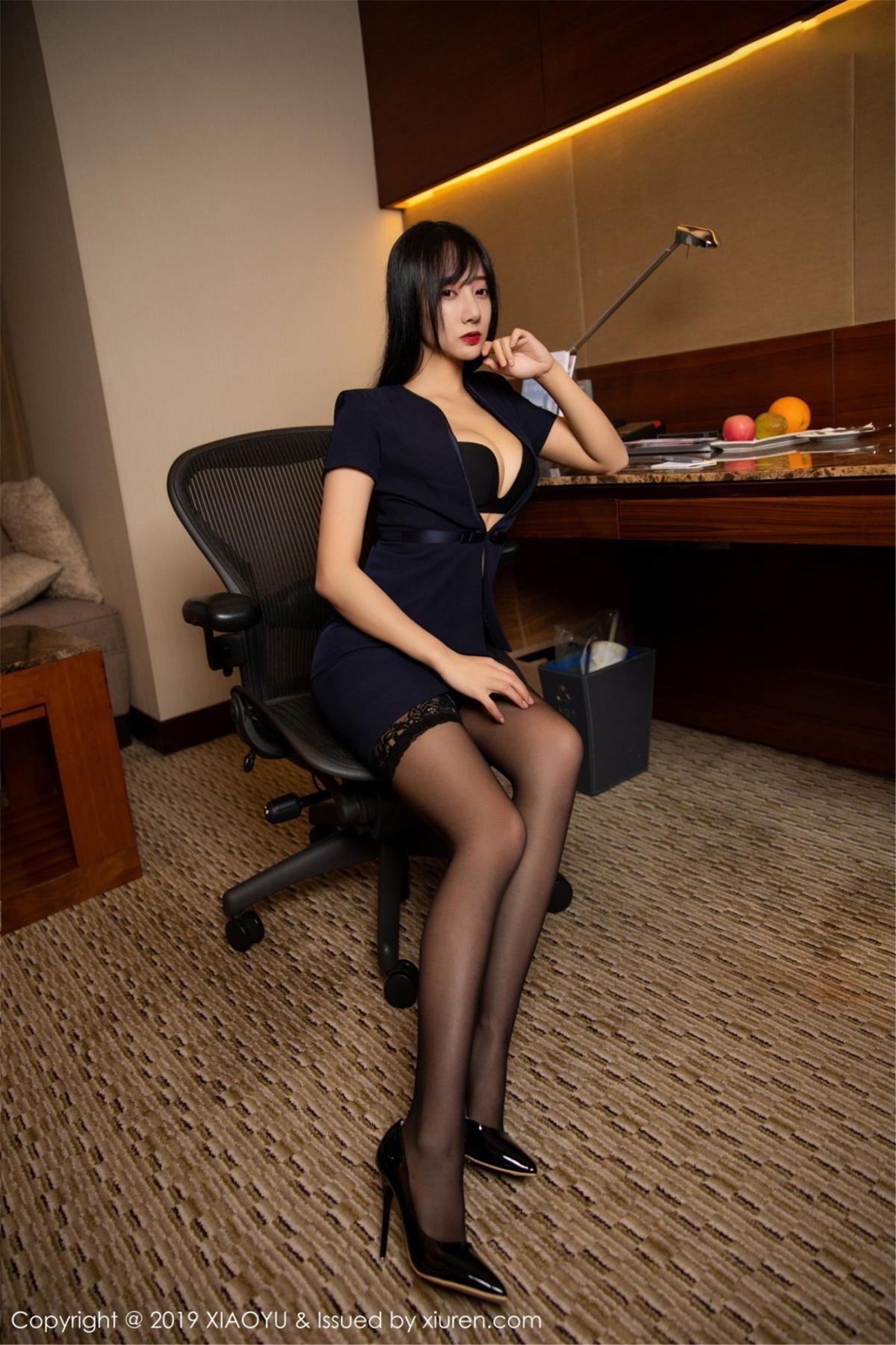[XiaoYu] Vol.068 He Jia Ying 14P, Black Silk, He Jia Ying, Uniform, XiaoYu