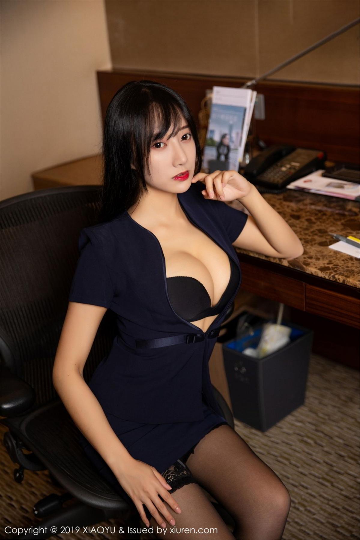 [XiaoYu] Vol.068 He Jia Ying 15P, Black Silk, He Jia Ying, Uniform, XiaoYu