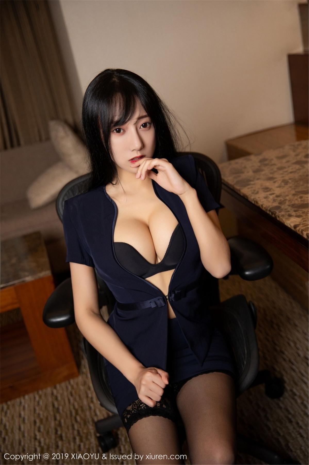 [XiaoYu] Vol.068 He Jia Ying 16P, Black Silk, He Jia Ying, Uniform, XiaoYu