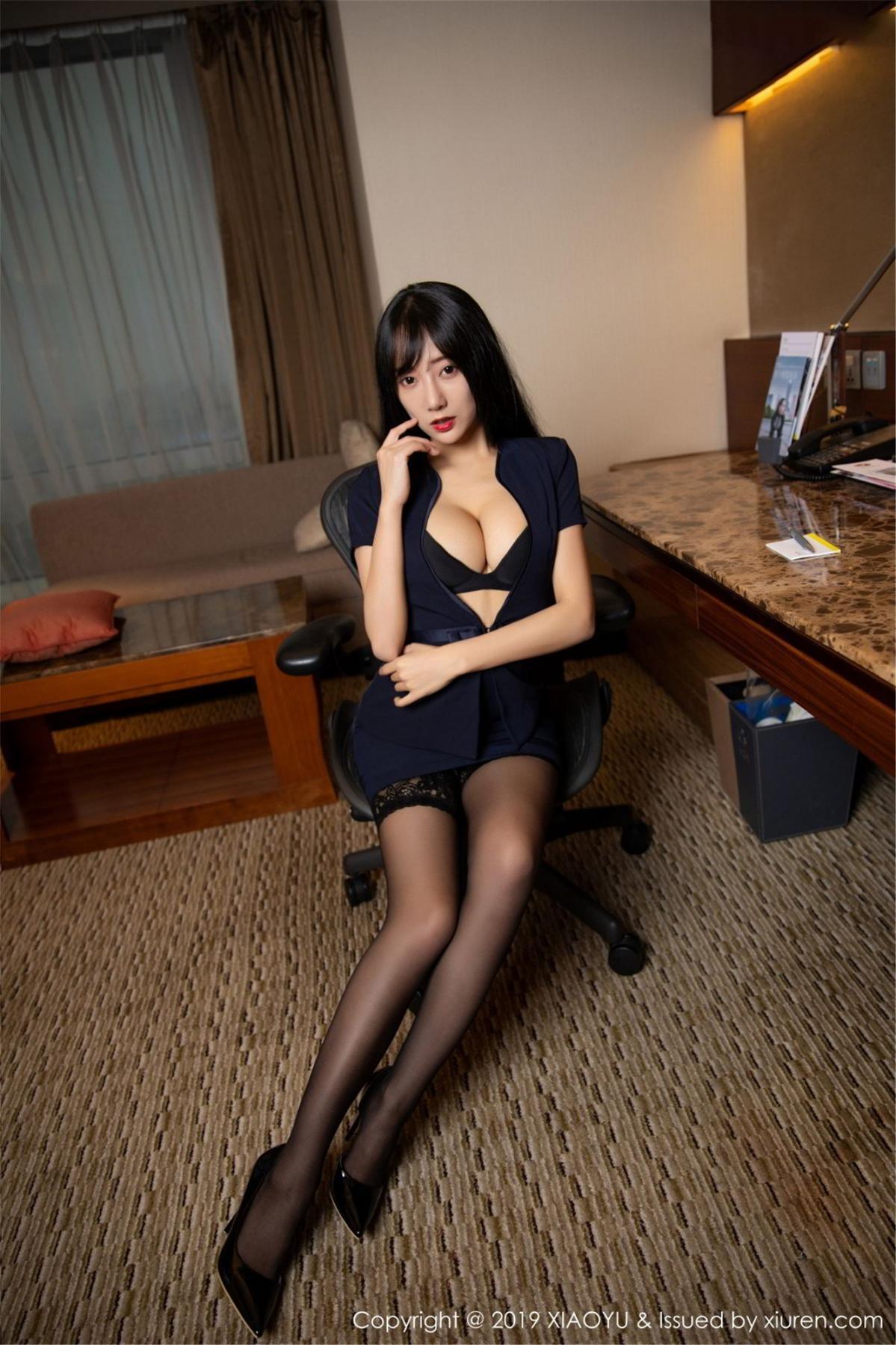 [XiaoYu] Vol.068 He Jia Ying 17P, Black Silk, He Jia Ying, Uniform, XiaoYu