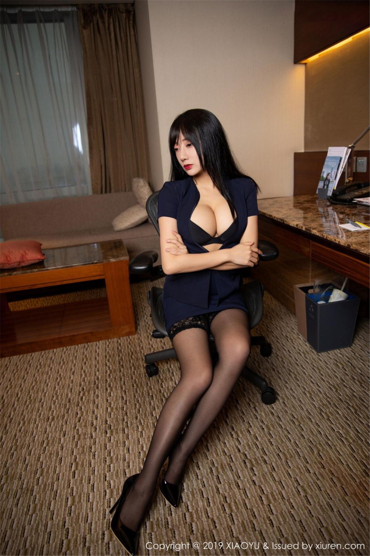 [XiaoYu] Vol.068 He Jia Ying 18P, Black Silk, He Jia Ying, Uniform, XiaoYu