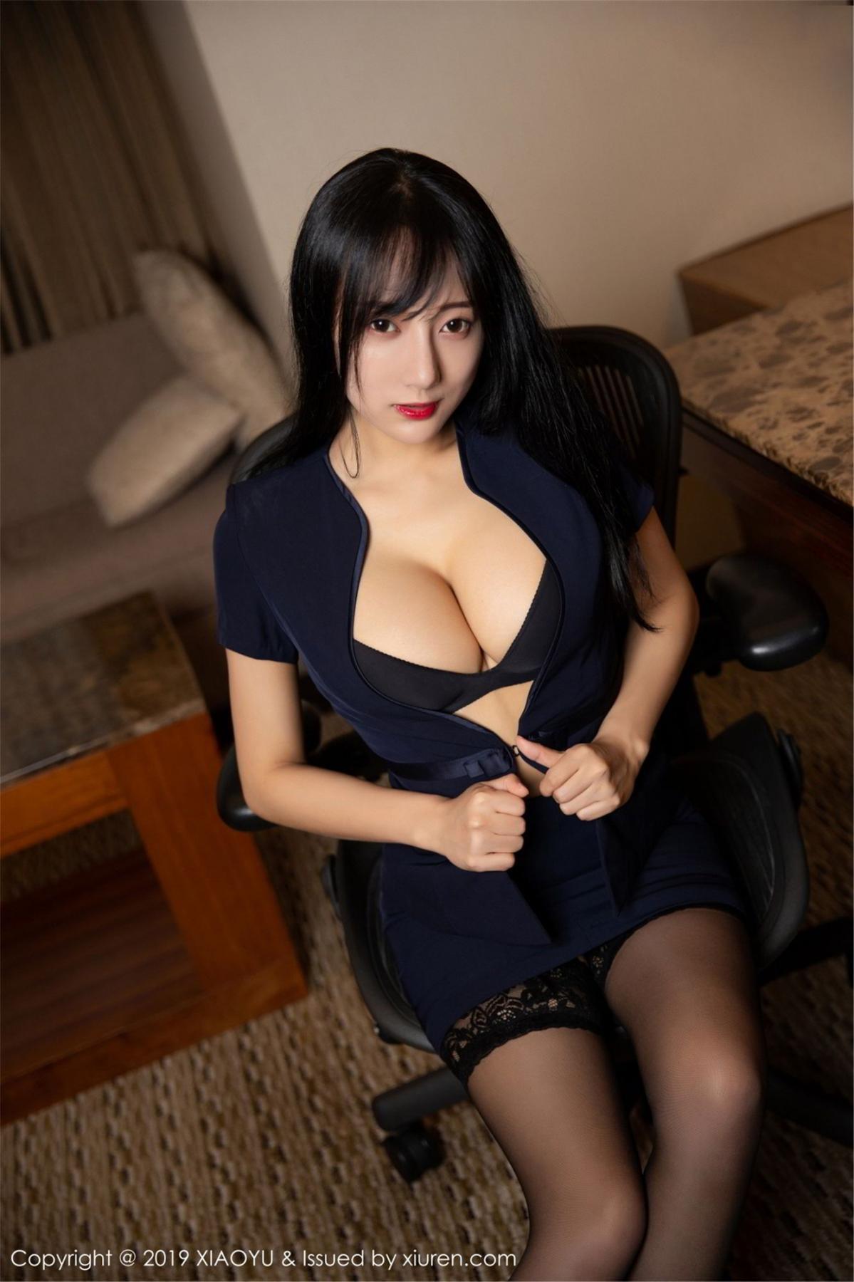 [XiaoYu] Vol.068 He Jia Ying 19P, Black Silk, He Jia Ying, Uniform, XiaoYu