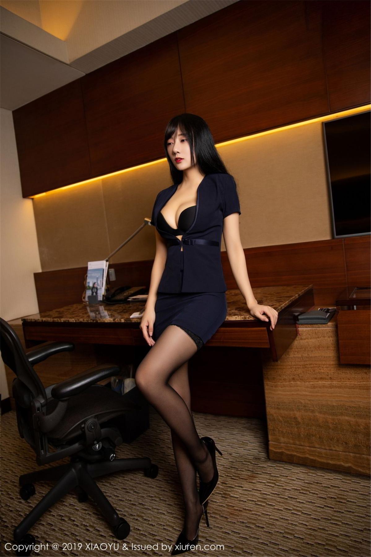 [XiaoYu] Vol.068 He Jia Ying 1P, Black Silk, He Jia Ying, Uniform, XiaoYu