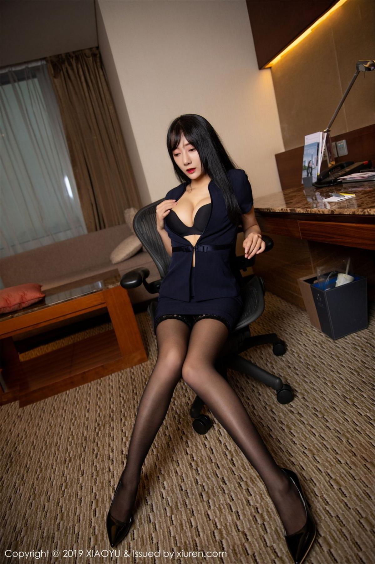 [XiaoYu] Vol.068 He Jia Ying 21P, Black Silk, He Jia Ying, Uniform, XiaoYu