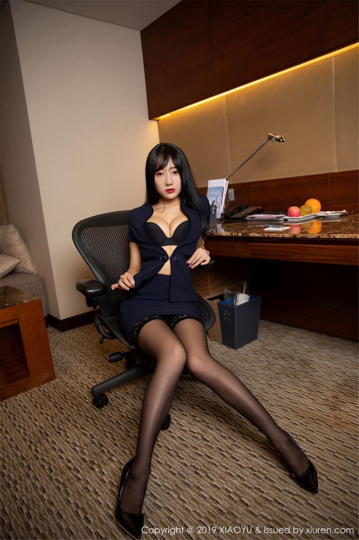 [XiaoYu] Vol.068 He Jia Ying 22P, Black Silk, He Jia Ying, Uniform, XiaoYu