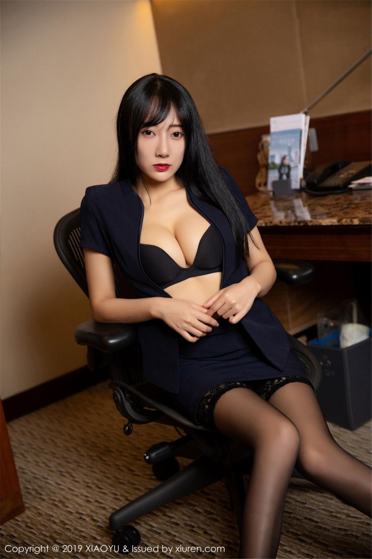 [XiaoYu] Vol.068 He Jia Ying 23P, Black Silk, He Jia Ying, Uniform, XiaoYu