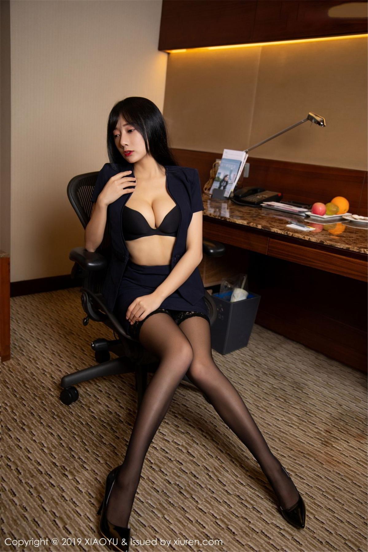 [XiaoYu] Vol.068 He Jia Ying 24P, Black Silk, He Jia Ying, Uniform, XiaoYu