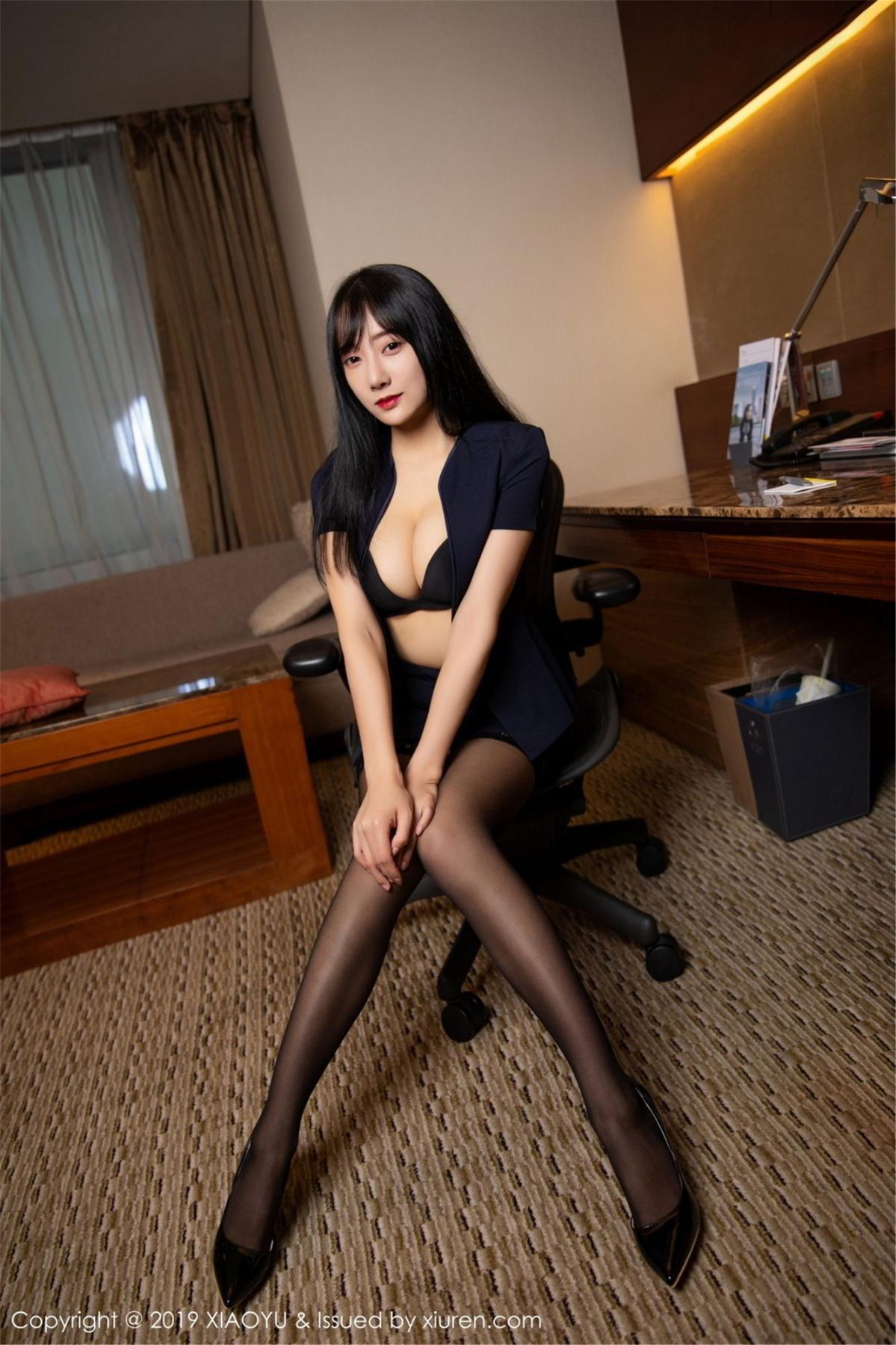 [XiaoYu] Vol.068 He Jia Ying 28P, Black Silk, He Jia Ying, Uniform, XiaoYu