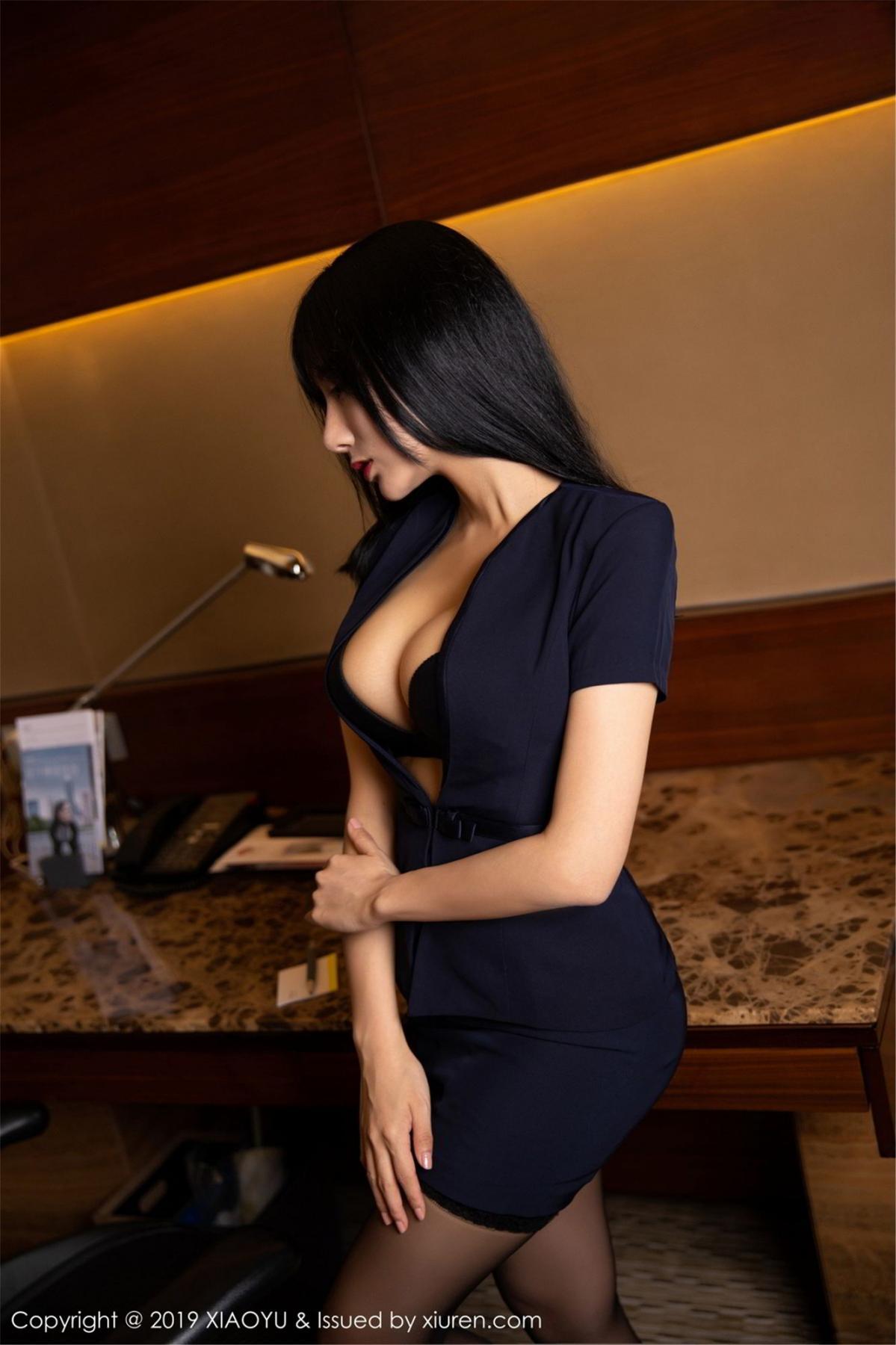 [XiaoYu] Vol.068 He Jia Ying 2P, Black Silk, He Jia Ying, Uniform, XiaoYu