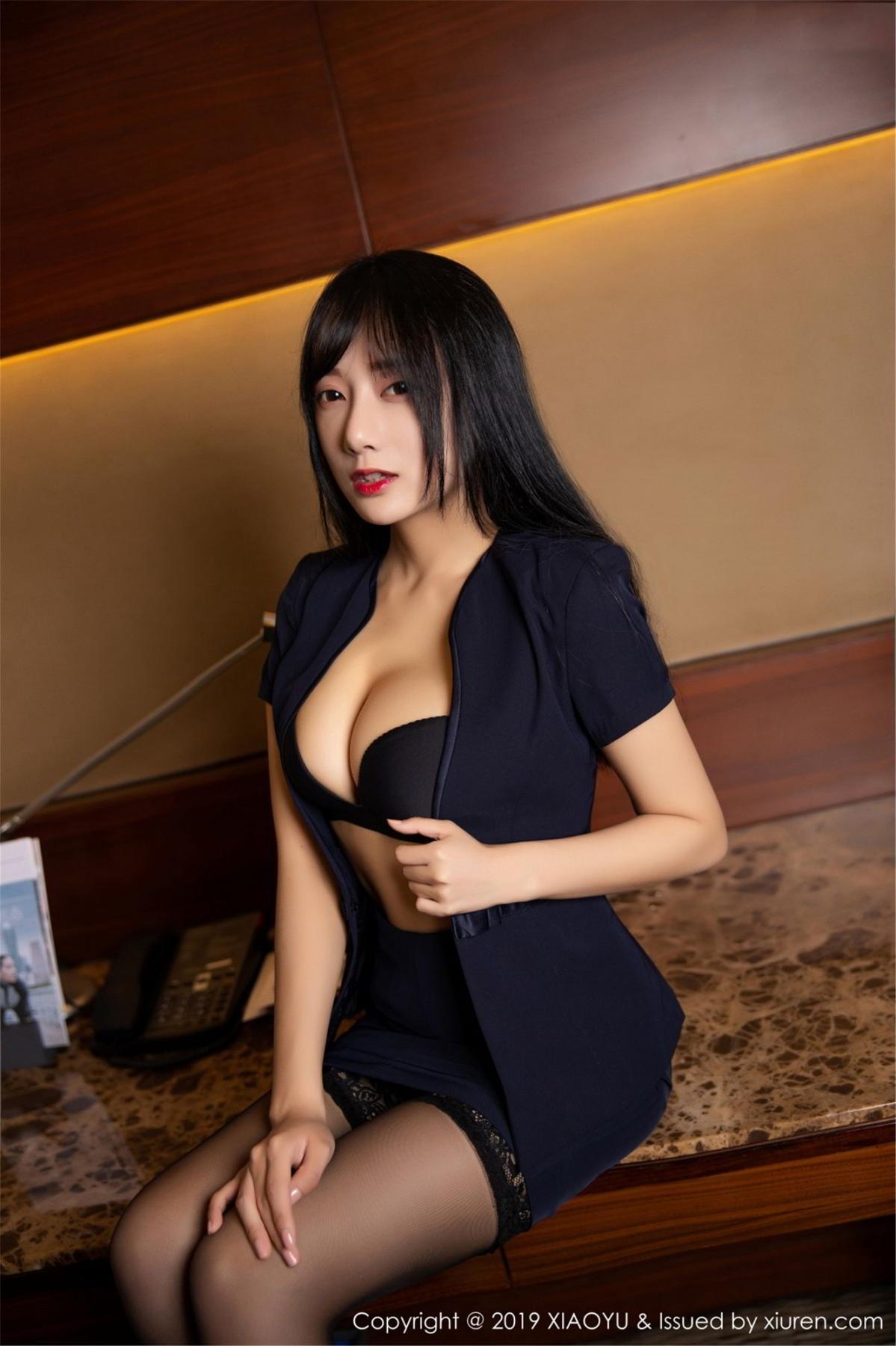 [XiaoYu] Vol.068 He Jia Ying 34P, Black Silk, He Jia Ying, Uniform, XiaoYu