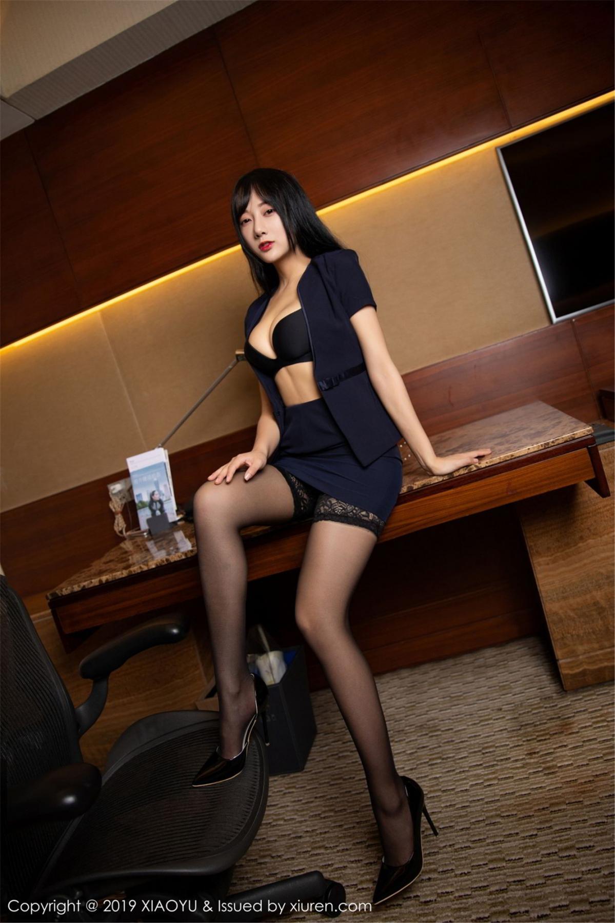 [XiaoYu] Vol.068 He Jia Ying 35P, Black Silk, He Jia Ying, Uniform, XiaoYu